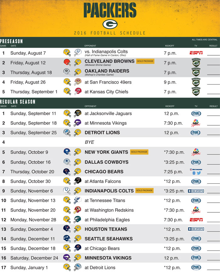 Green Bay Packers Schedule